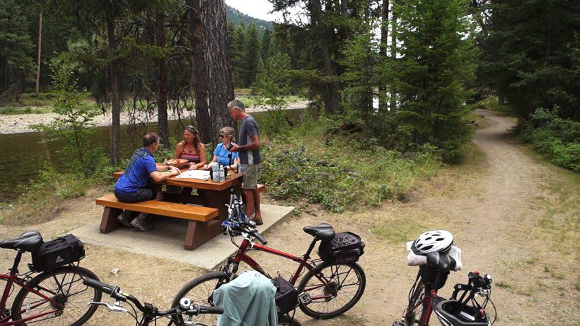 Family picnic, cycling