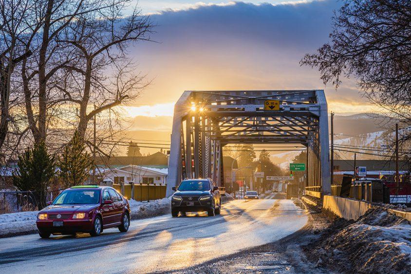 Grand Forks, bridge, winter