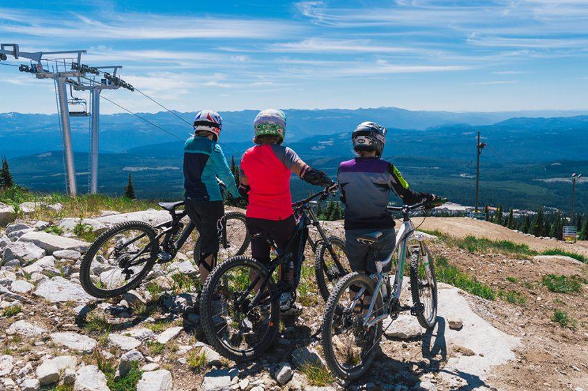 Mountain biking, view from top of mountain, Big White summer