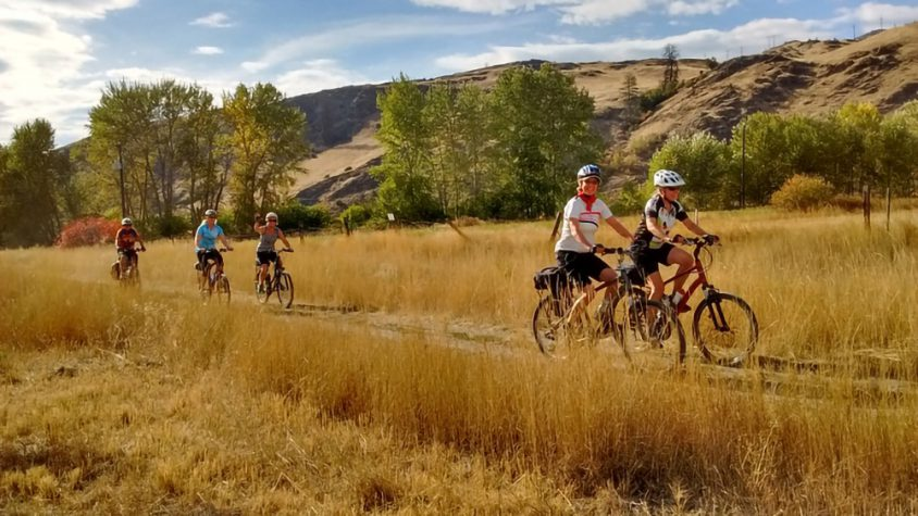 Trail cycling family group