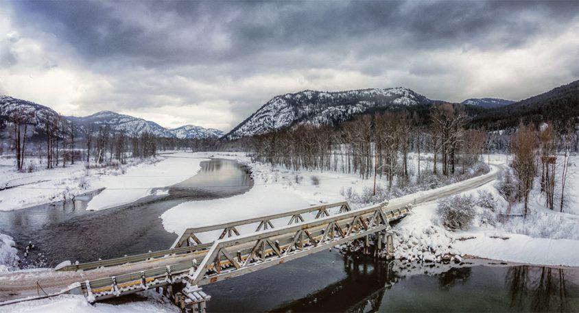 Greenwood winter, river crossing, snow