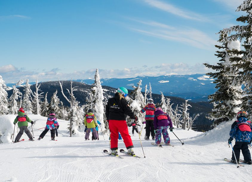 Kids downhill skiing