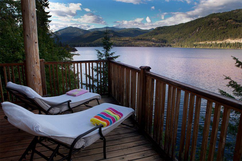 Christina Lake view, reclining deck chairs