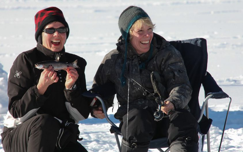 Ice fishing, caught one!